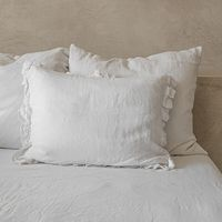 White Ruffled Linen Pillowcase   Bombinate