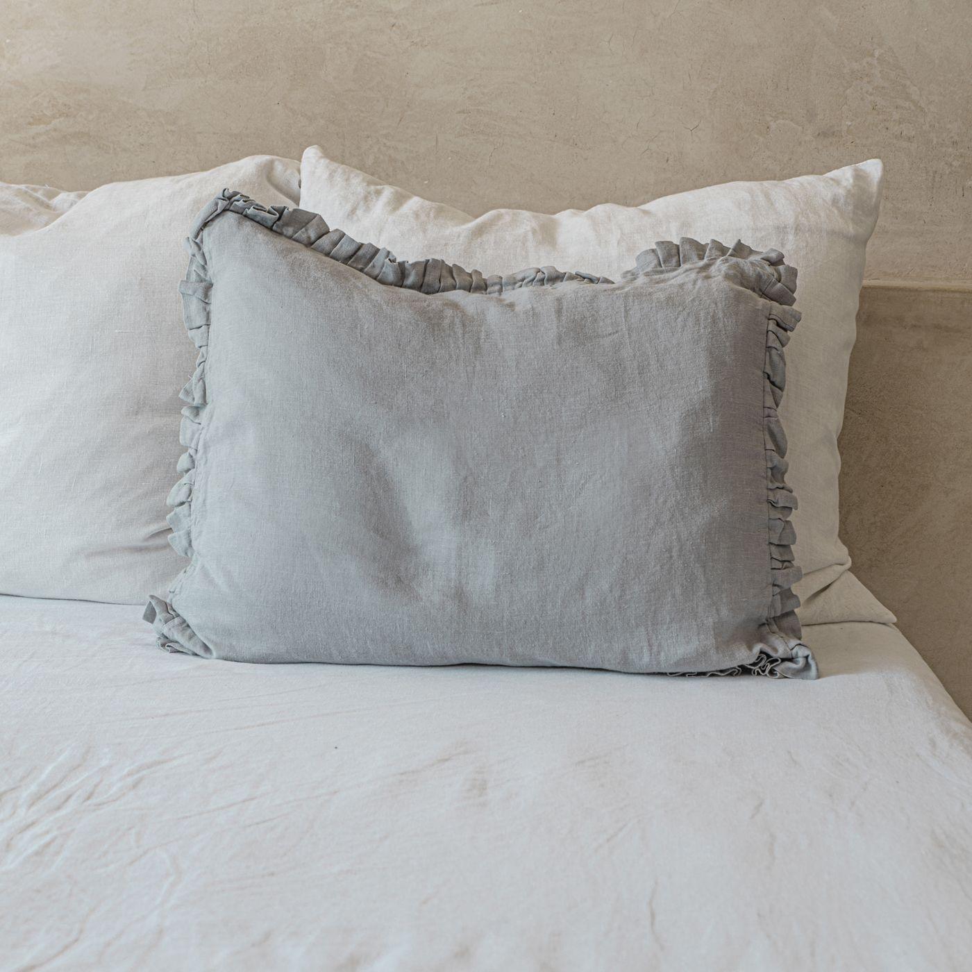 Light Grey Ruffled Linen Pillowcase | Bombinate