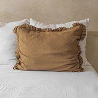 Cinnamon Ruffled Linen Pillowcase   Bombinate