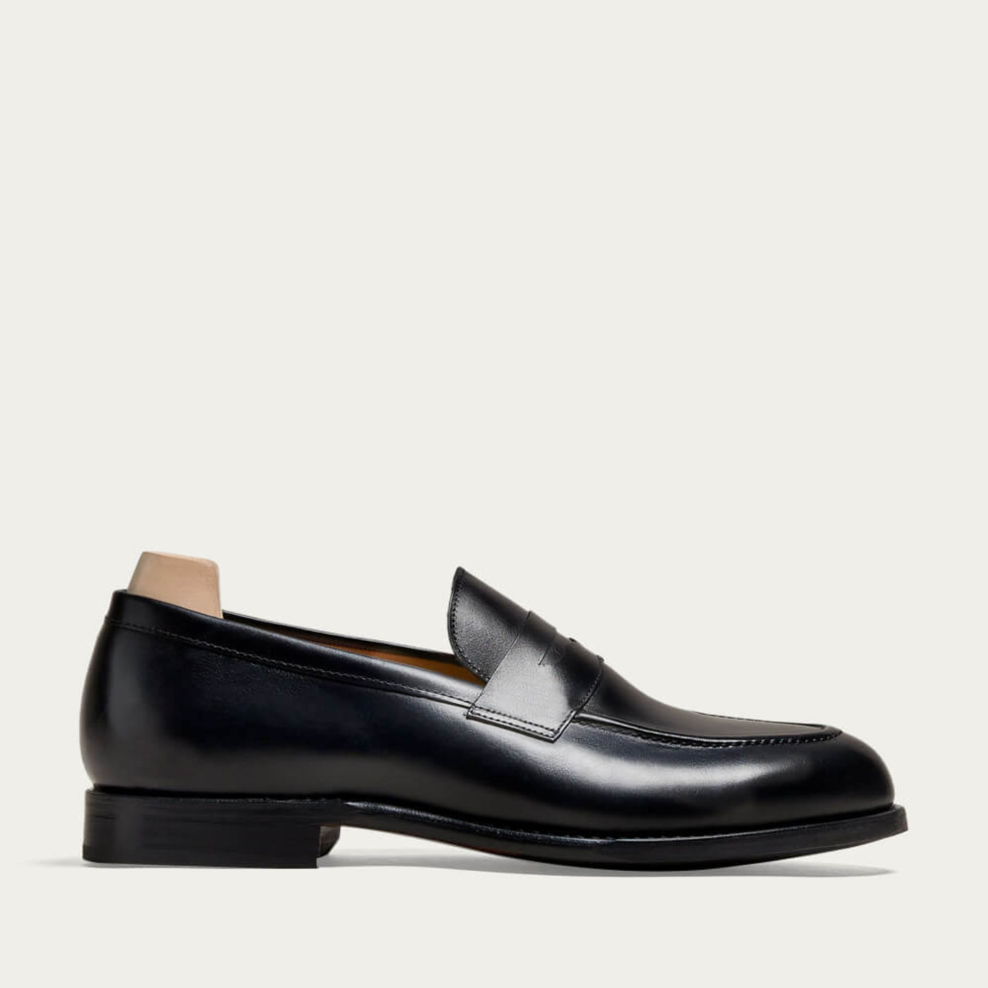 Black Smögen Calf Loafers with Leather Sole   Bombinate