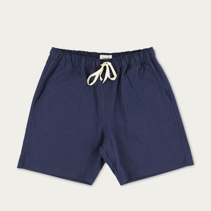 Navy Blue Tiger Tooth Cotton Shorts | Bombinate