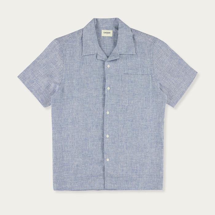 Mid Blue Devilshead Short Sleeve Shirt   Bombinate
