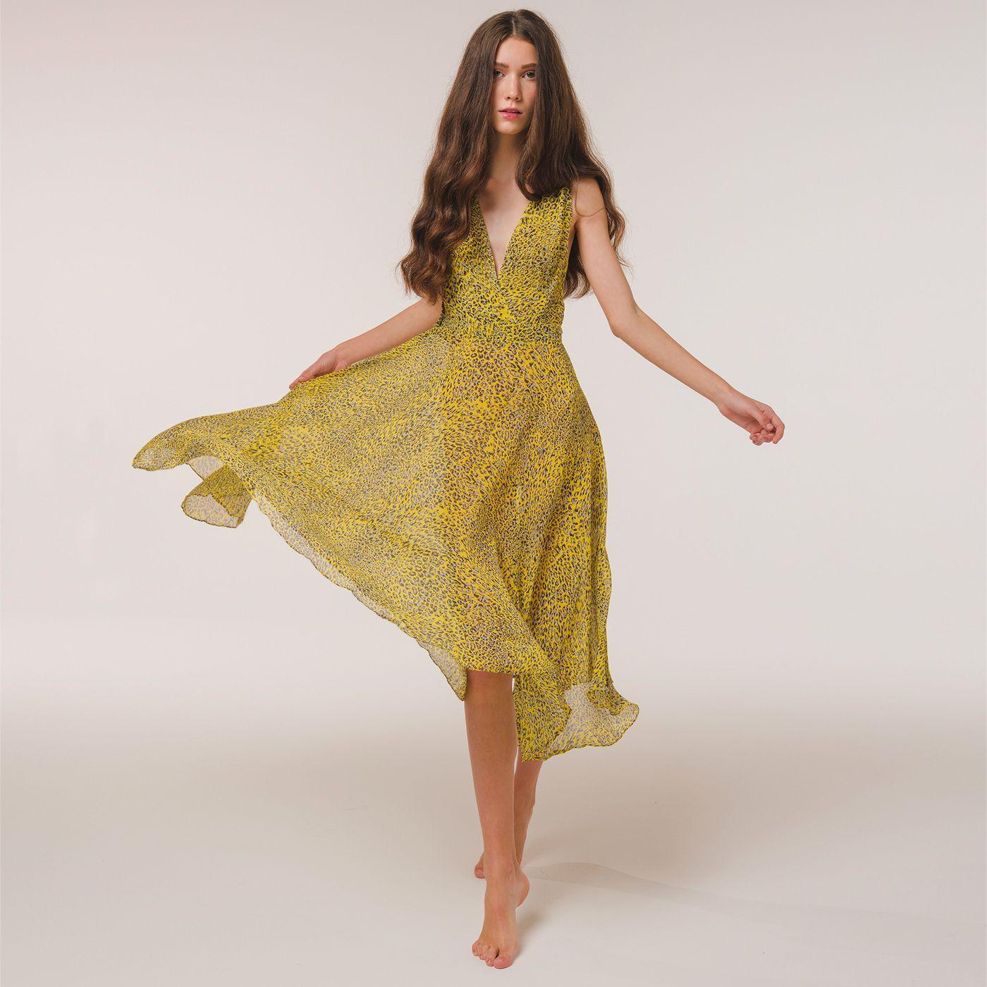 Yellow Animalier Silk Print Dress   Bombinate