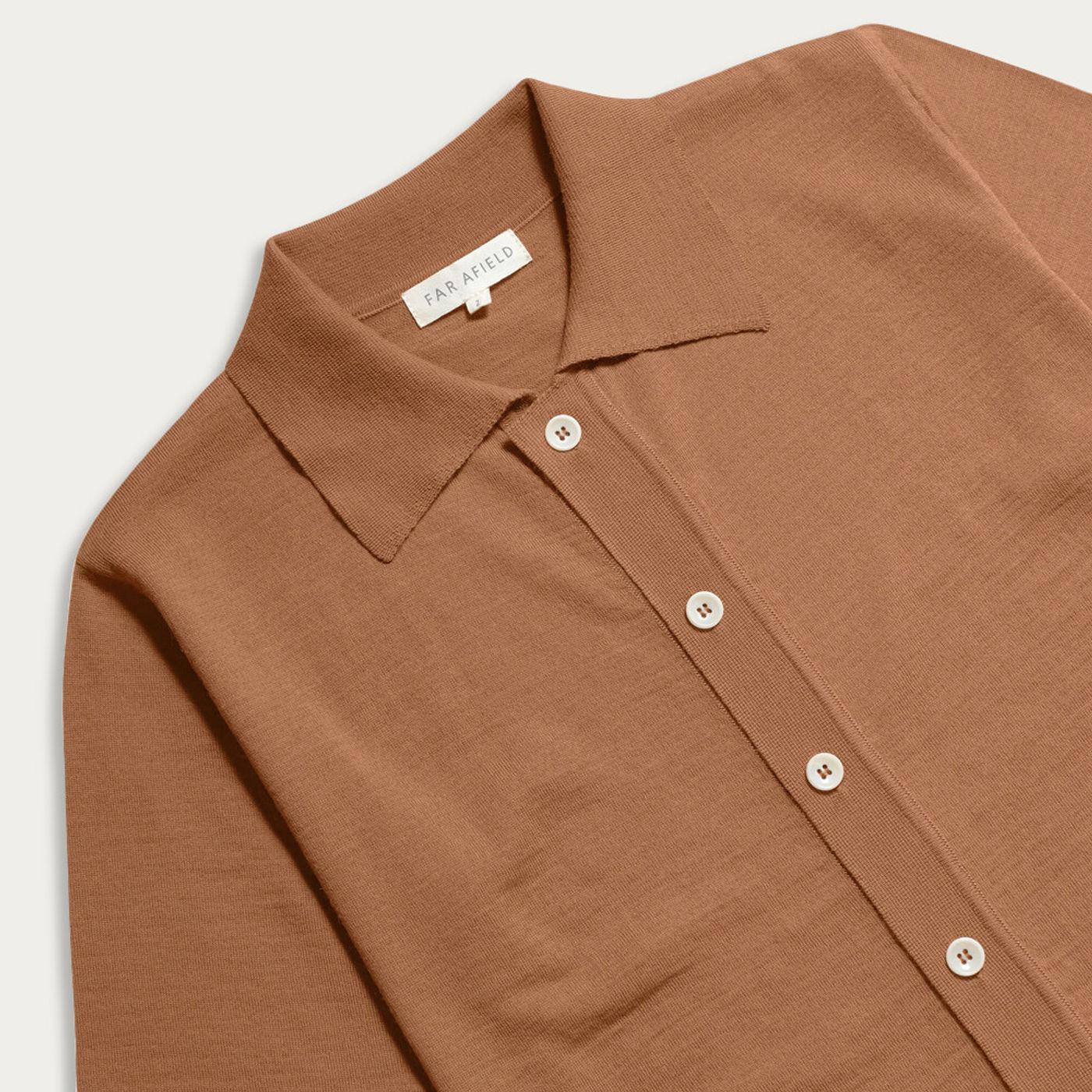 Thrush Brown Velzy Wool Short Sleeve Cardigan   Bombinate