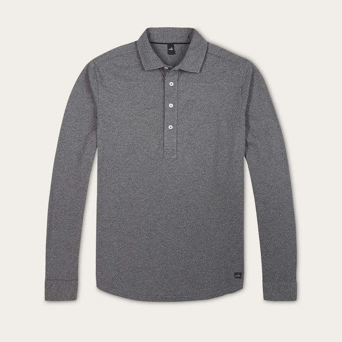 Mid Marl Grey Norton Tailored Jersey Poloshirt | Bombinate