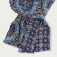 Light Blue Paisley Habotai Silk Scarf | Bombinate