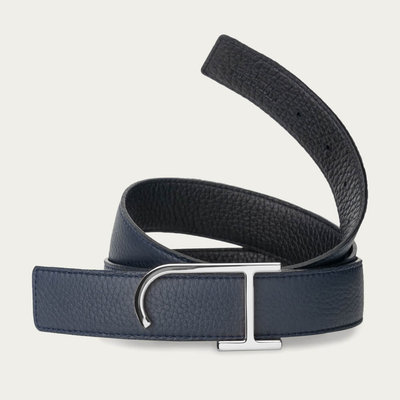 Navy and Black Reversible Belt with The JH Palladium Buckle   Bombinate