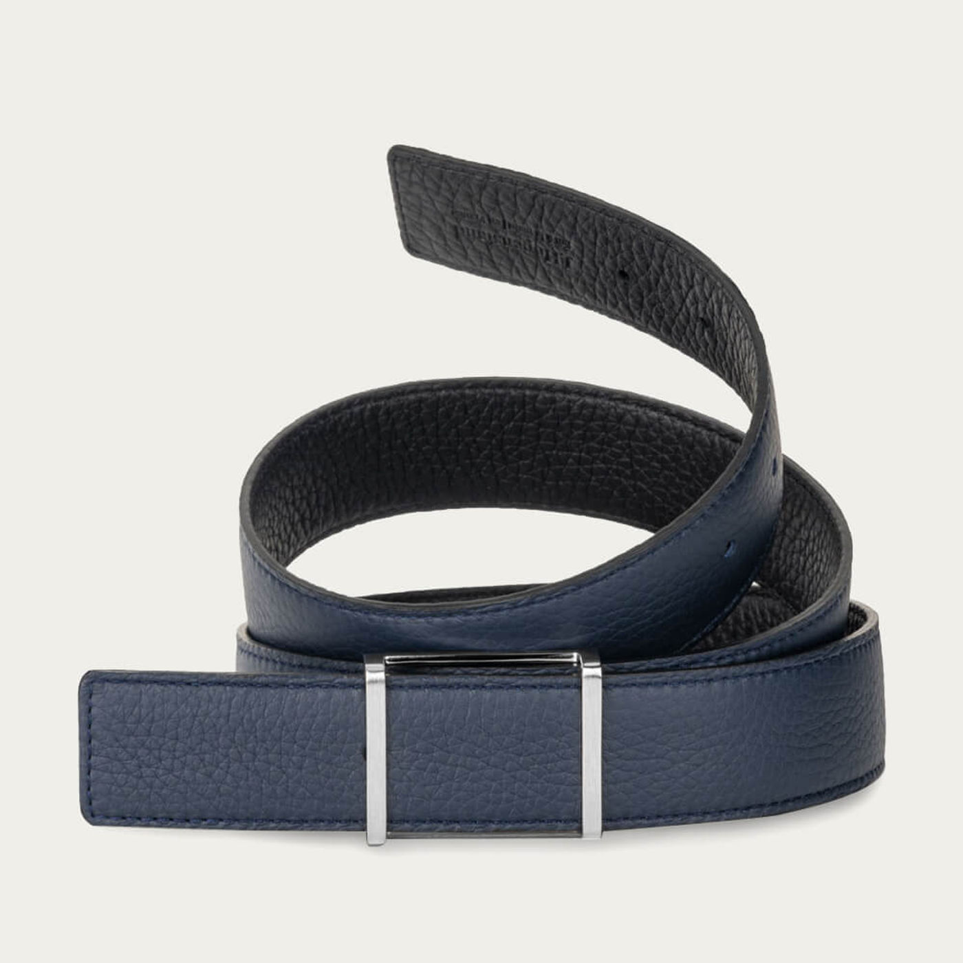 Navy and Black Reversible Belt with The Reversible Brushed Palladium Buckle   Bombinate