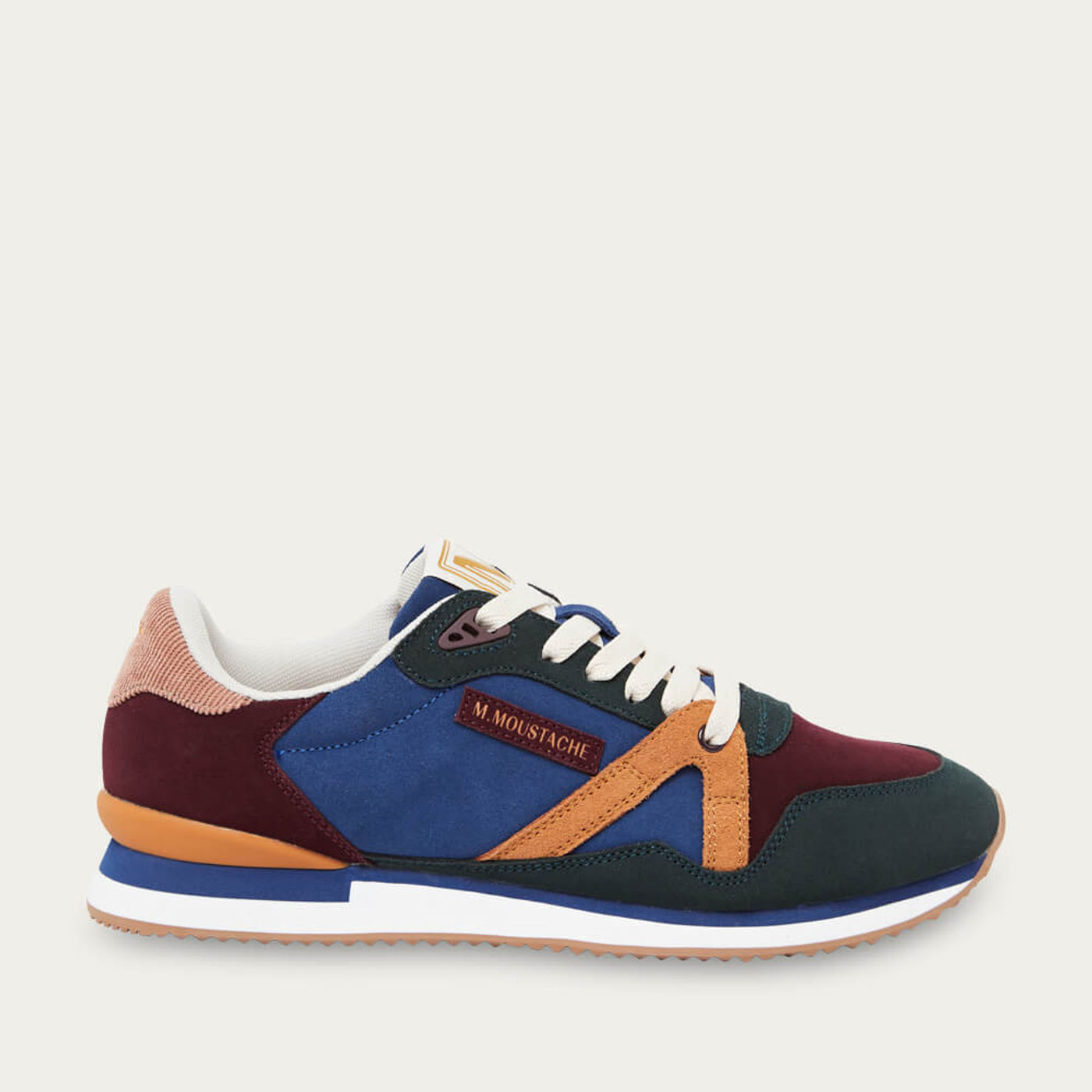 Blue Green and Burgundy Suede André Running Shoes | Bombinate