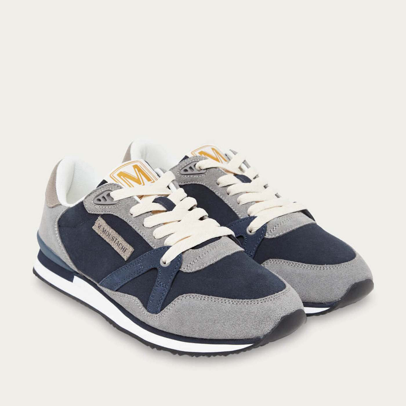 Gray and Navy Suede André Running Shoes | Bombinate