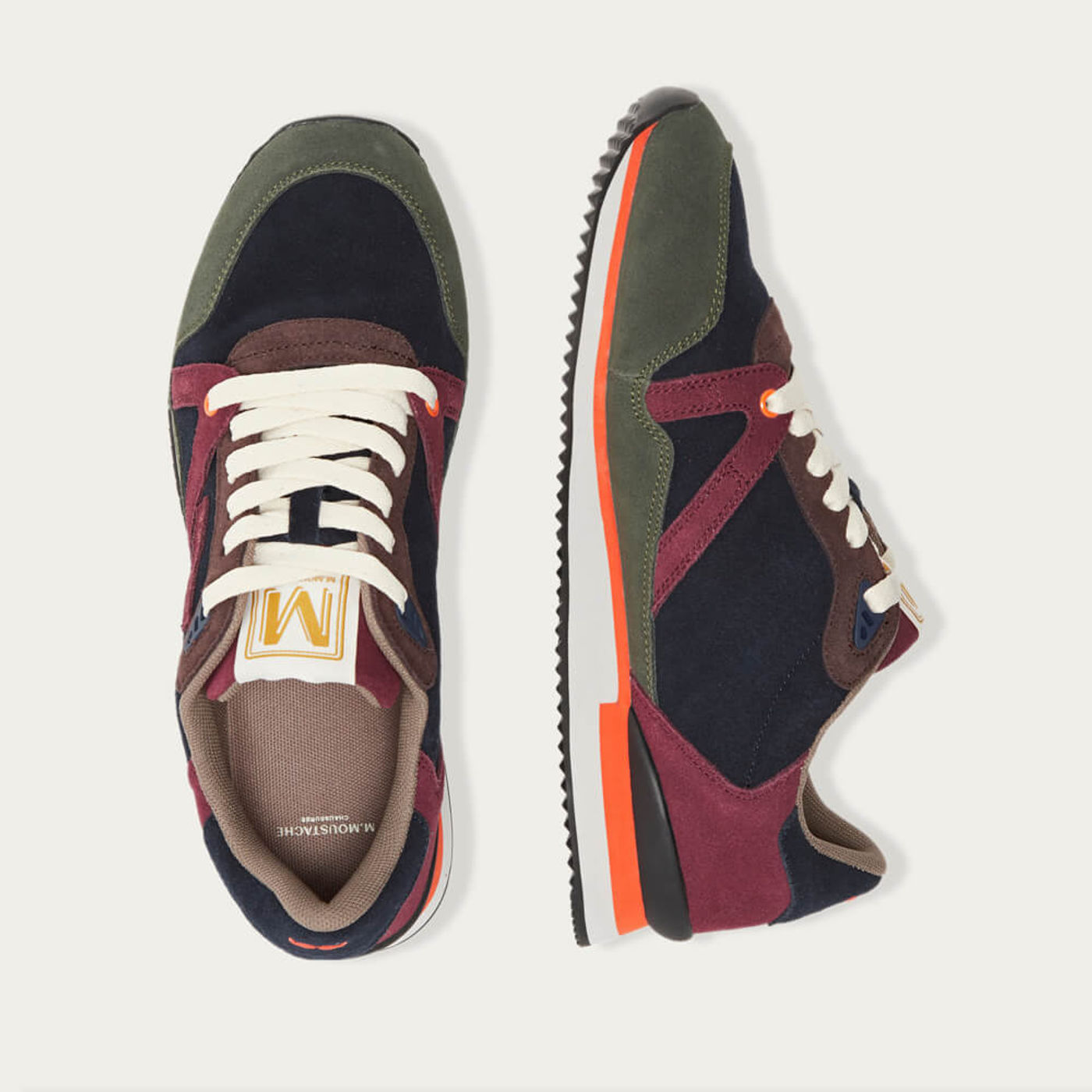 Navy Burgundy Green Suede André Running Shoes | Bombinate
