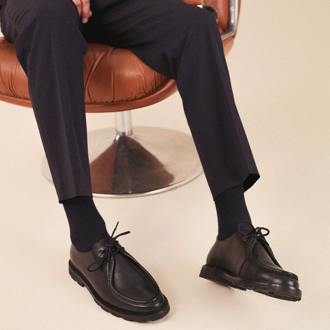 Black Leather Gaspard Derby Shoes   Bombinate
