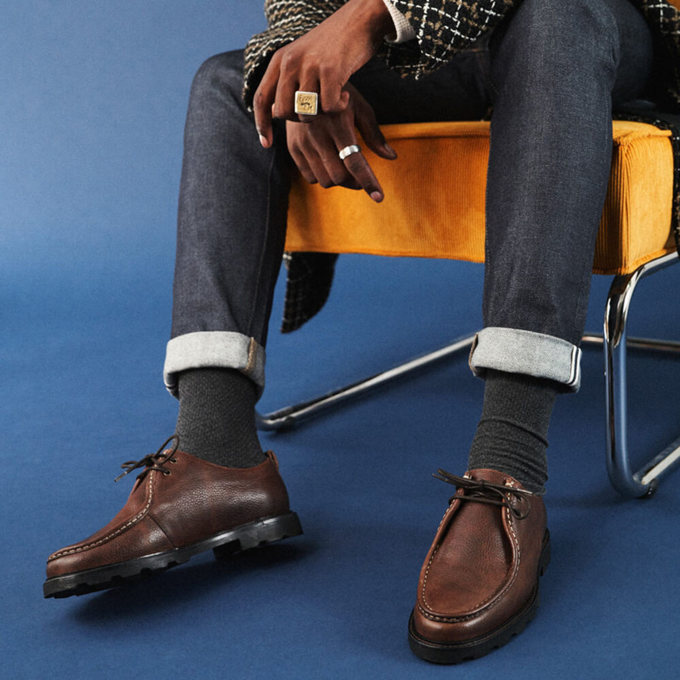 Brown Grained Pull-Up Gaspard Derby Shoes   Bombinate