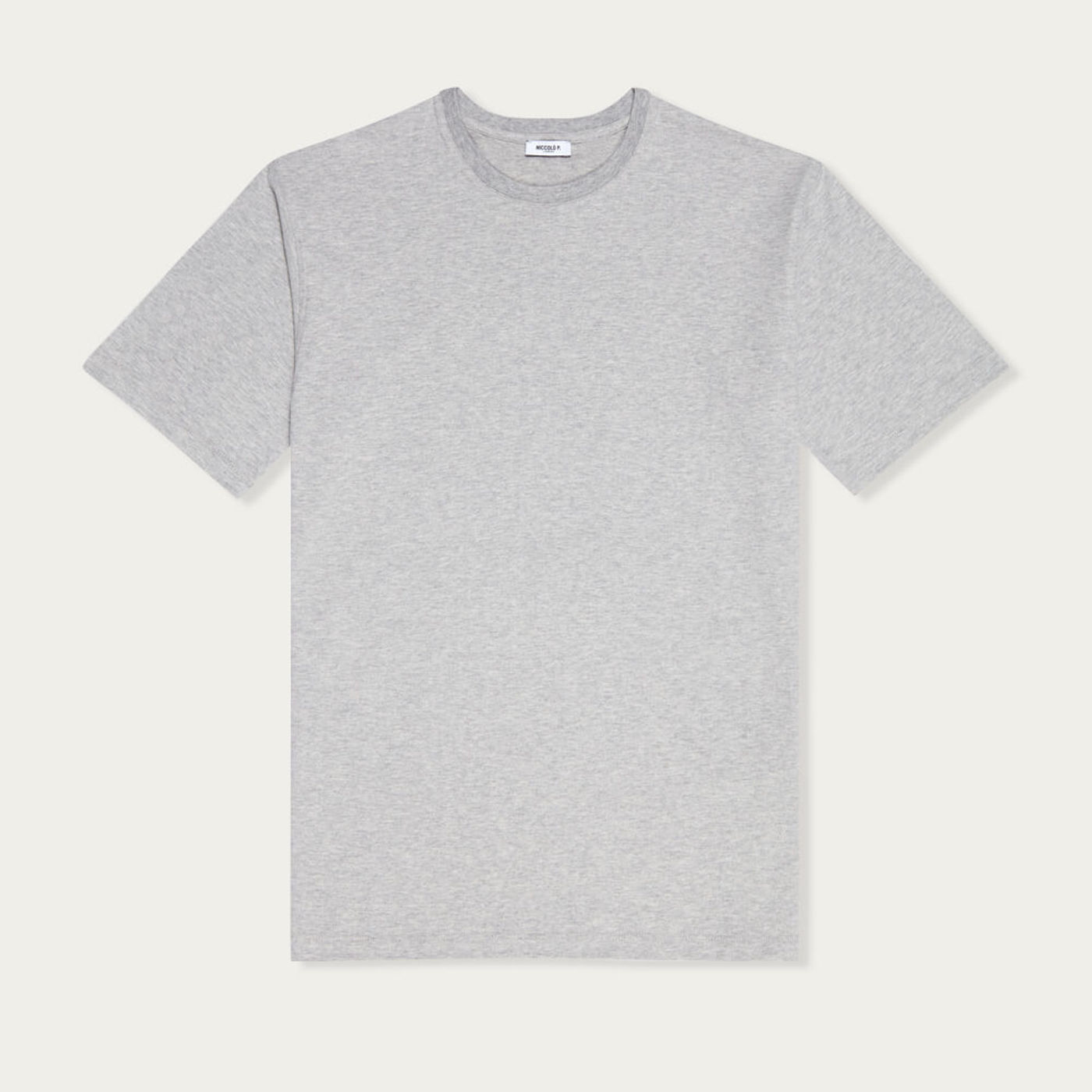 Grey Mélange Crew Neck T-Shirt, Supima Cotton   Bombinate