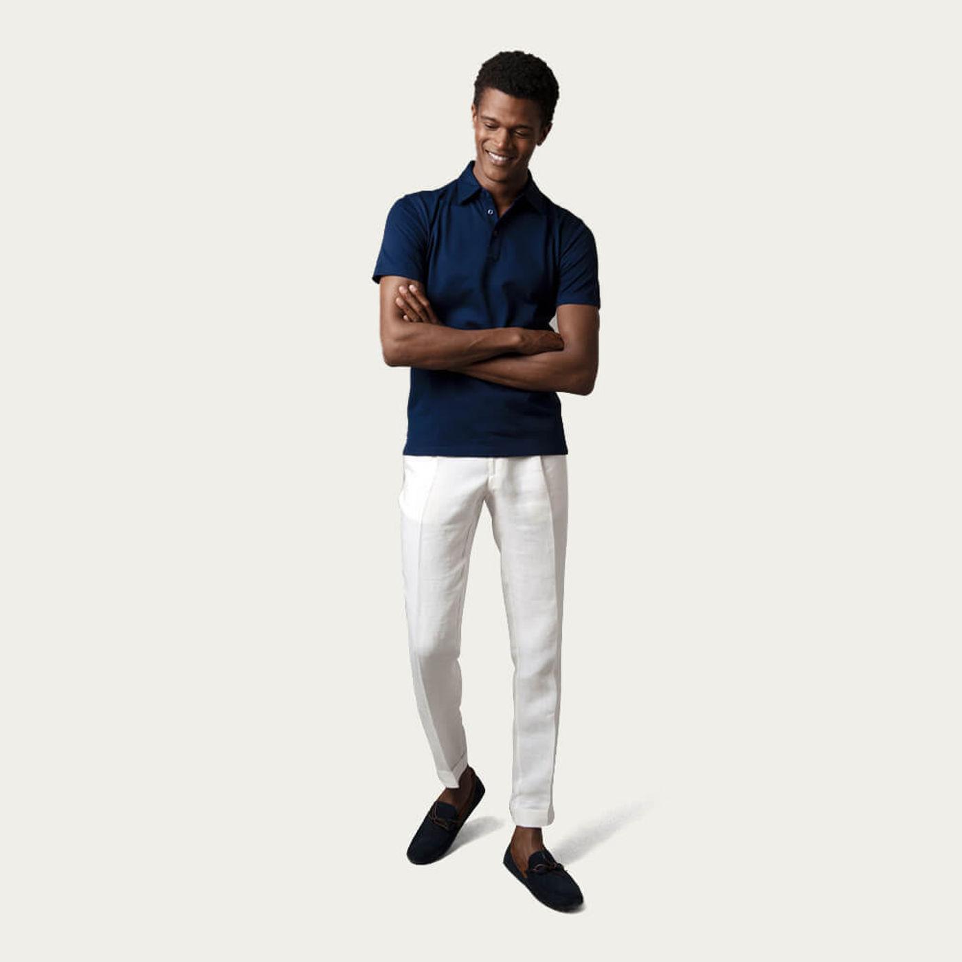 Dark Sapphire Piqué Polo Shirt, Sea Island Cotton | Bombinate