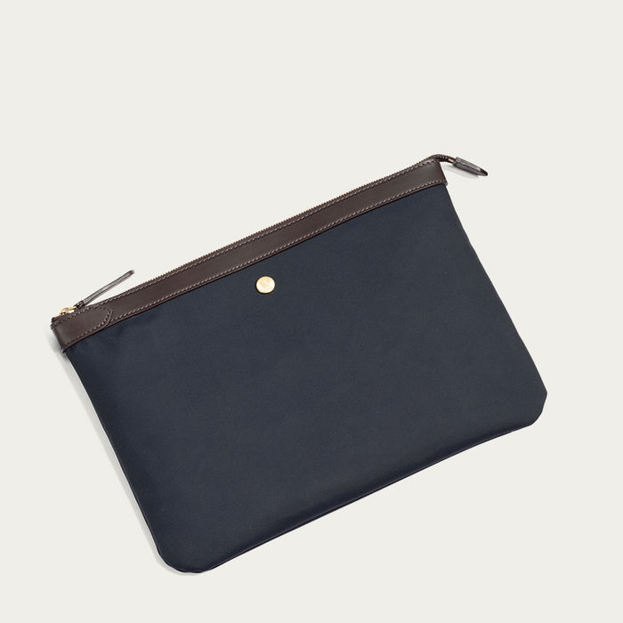 Navy/Dark Brown M/S Pouch Large Document Holder | Bombinate