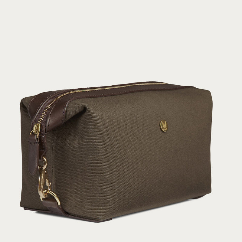 Army/Dark Brown M/S Washbag  | Bombinate