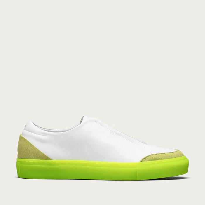 White Leather w/ Lime Slip On   Bombinate