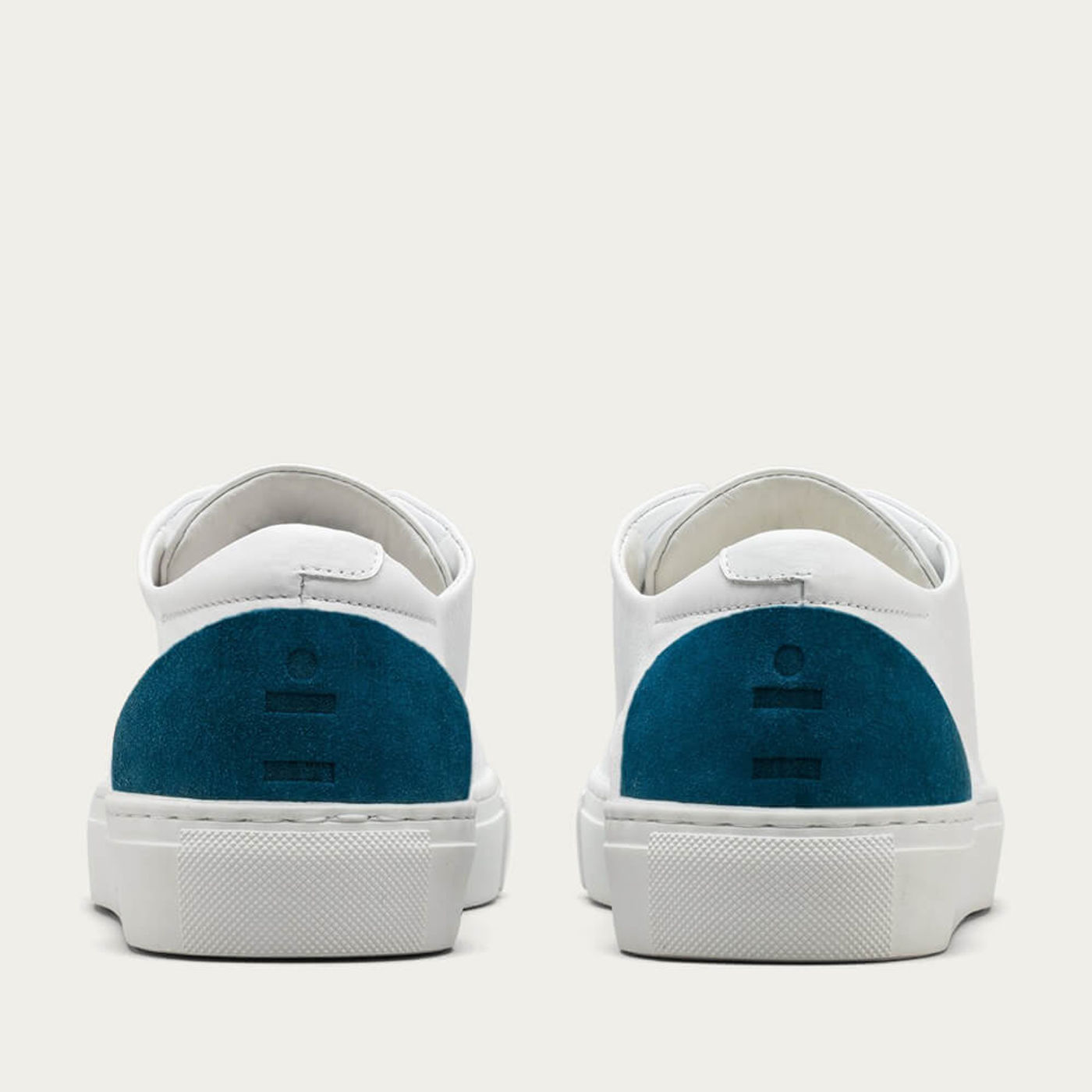 White Leather w/ Petrol Blue Minimal Low   Bombinate