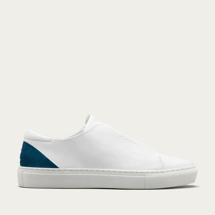 White Leather w/ Petrol Blue Minimal Low | Bombinate