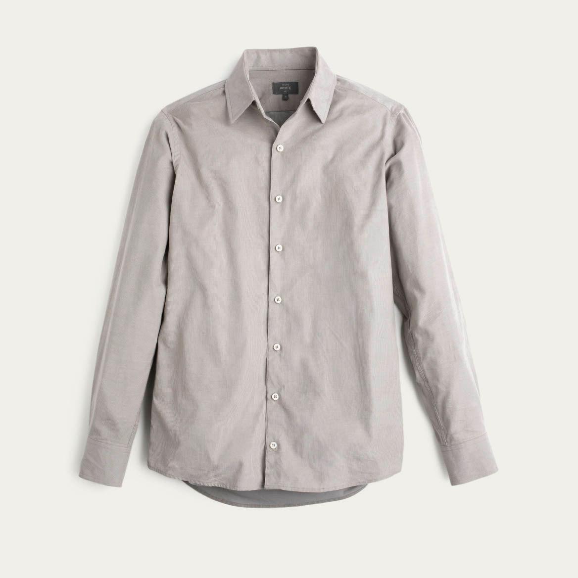 Mushroom Cord Plain Collar Shirt 0