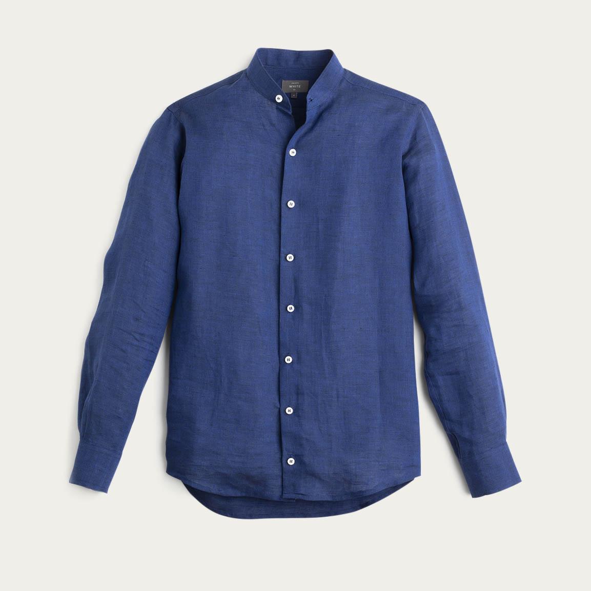 Dark Cobalt Linen Grandad Collar Shirt  | Bombinate