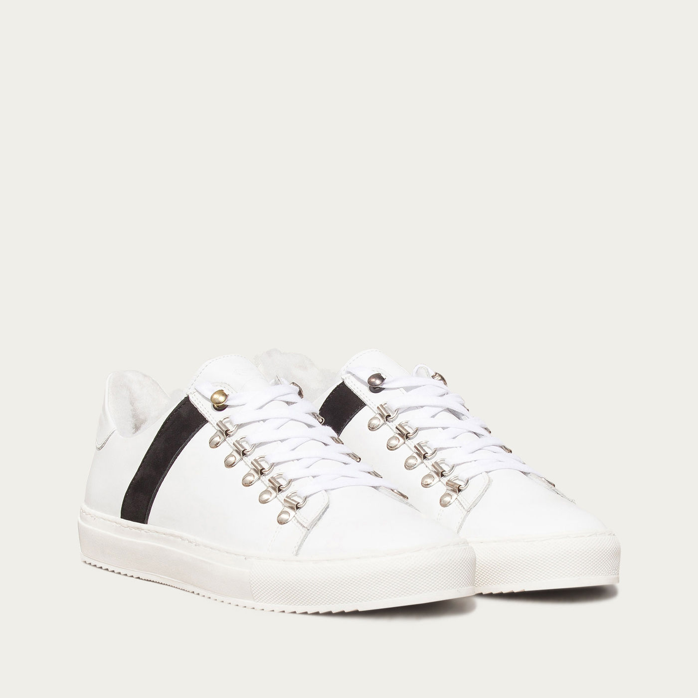 White and Black Mountain Sneakers | Bombinate