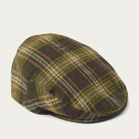 Olive Check Wool Flat Cap | Bombinate