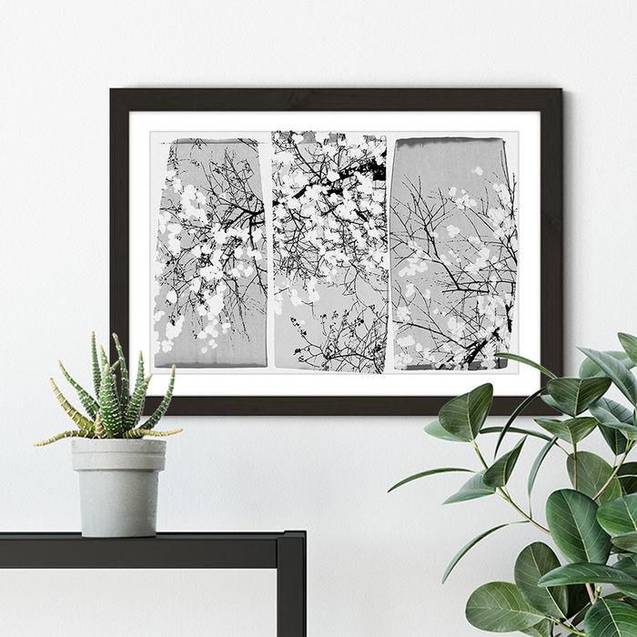 Oriental Blossom Art Print Black Frame | Bombinate