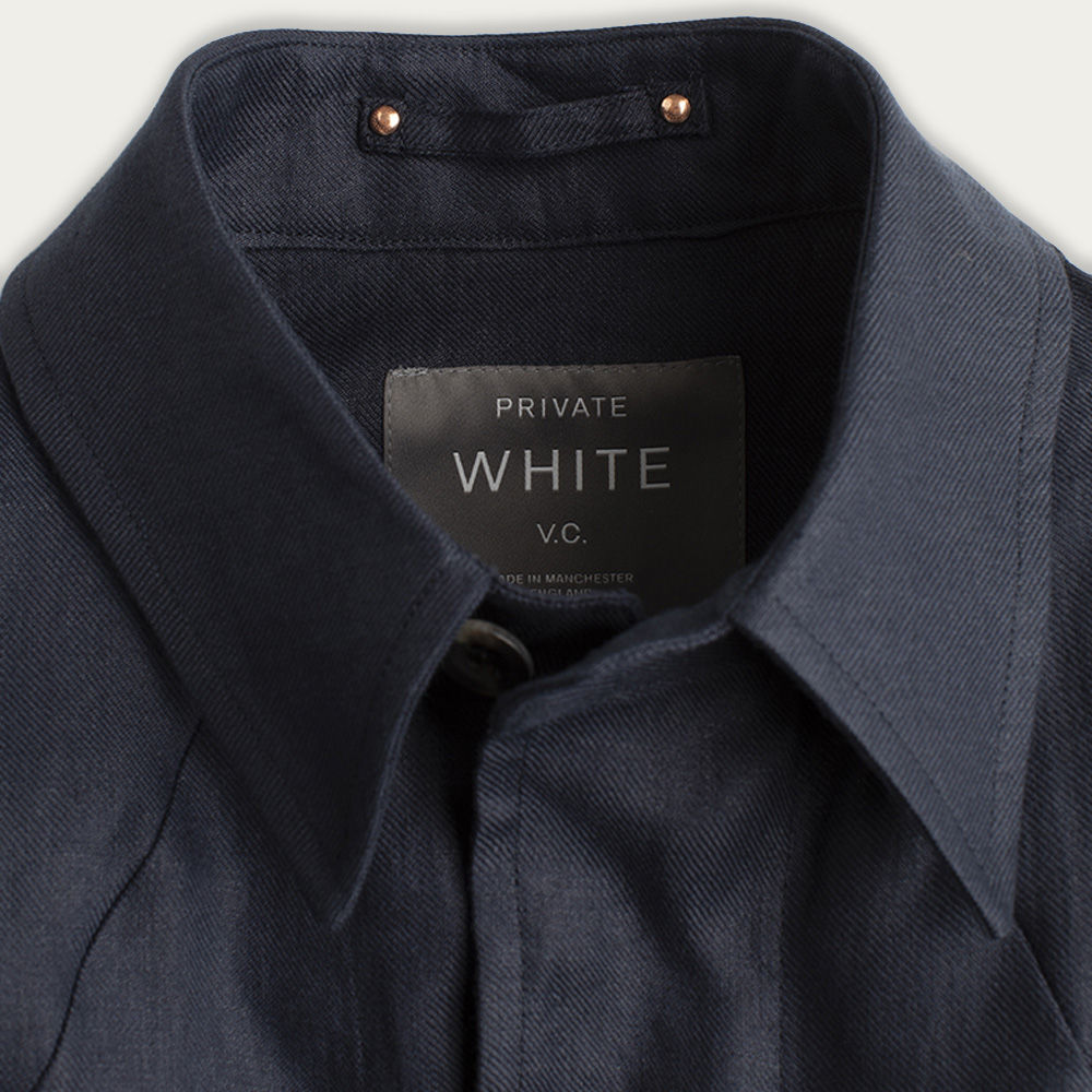 Navy Linen Shacket  | Bombinate