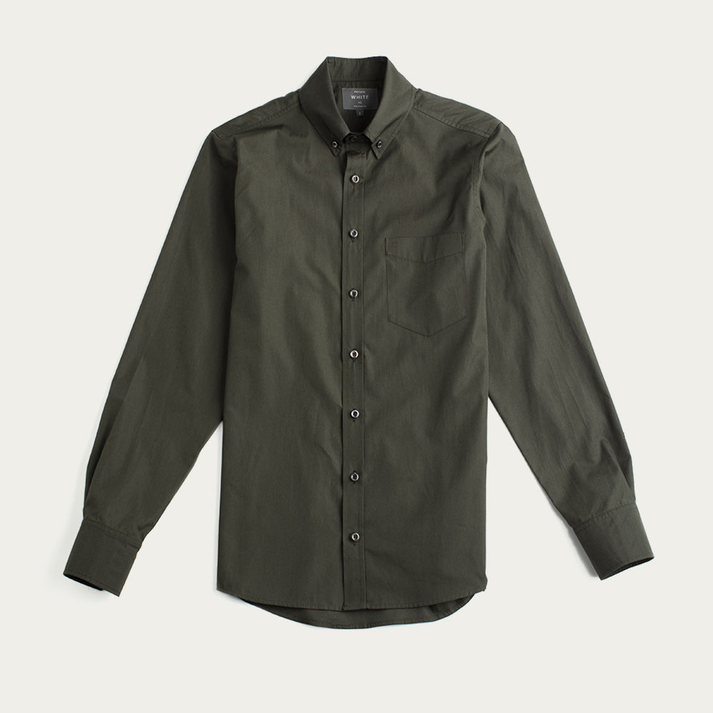 Olive Sateen William Button Down Shirt    Bombinate