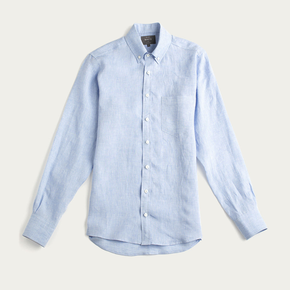 Sky Blue Linen William Button Down Shirt | Bombinate