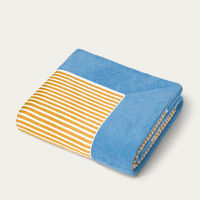 Cobalt Blue with Ocre Stripes Grand Luxe Beach Towels   Bombinate