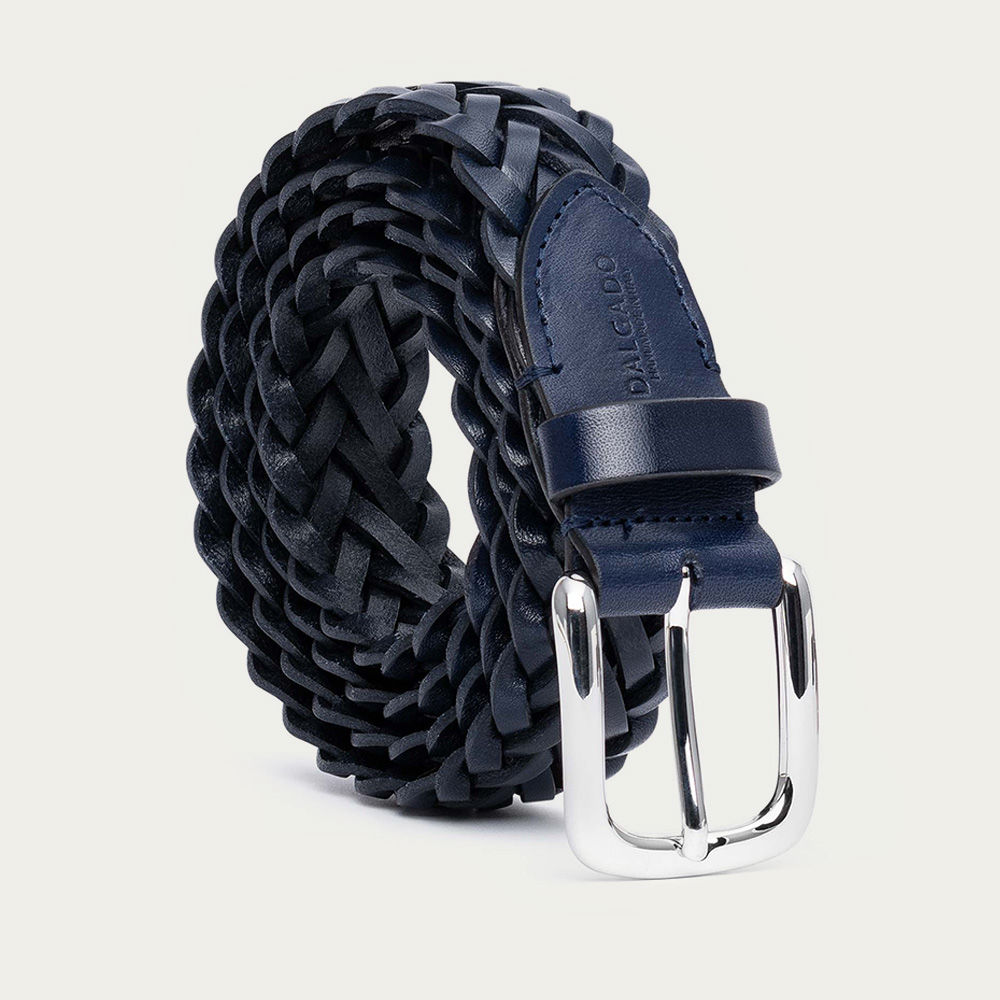 Blue Gianfranco Hand-Braided Leather Belt    Bombinate