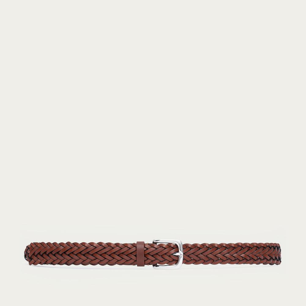 Cognac Renato Hand-Braided Leather Belt    Bombinate