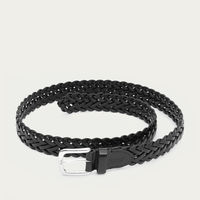 Black Cesare Hand-Braided Leather Belt  | Bombinate