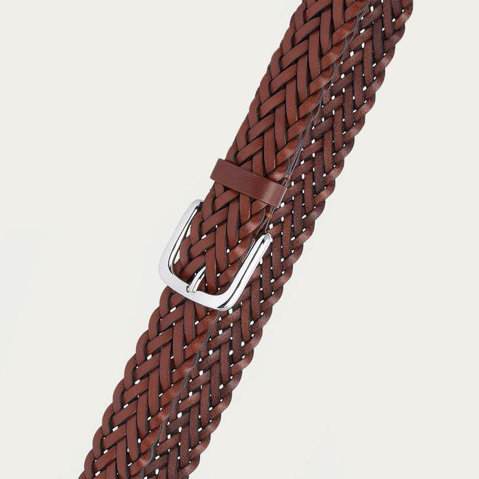 Cognac Renato Hand-Braided Leather Belt  | Bombinate