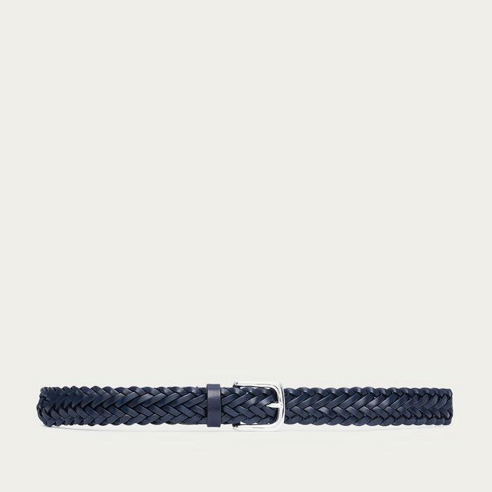 Blue Gianfranco Hand-Braided Leather Belt  | Bombinate