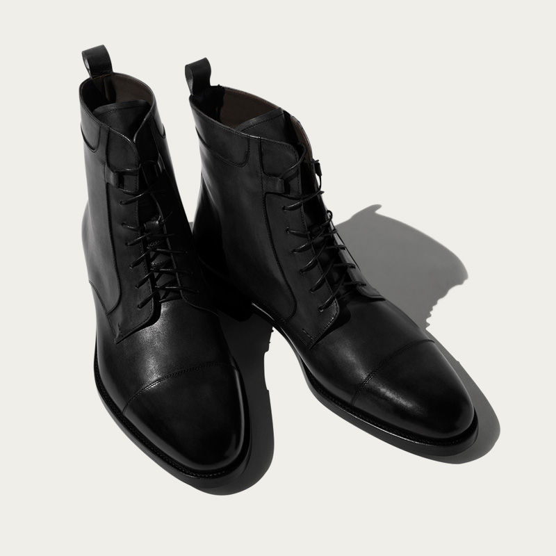 Totò Nero Lace up Boots | Bombinate