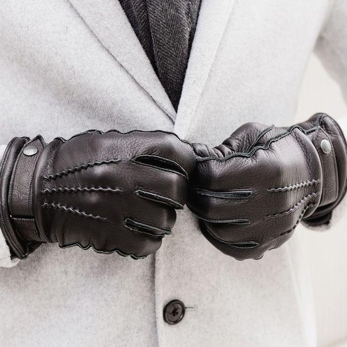 Black Alessio Handmade Deer Leather Gloves  | Bombinate