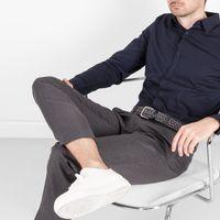 Grey/Blue Federico Braided Wool Belt    Bombinate