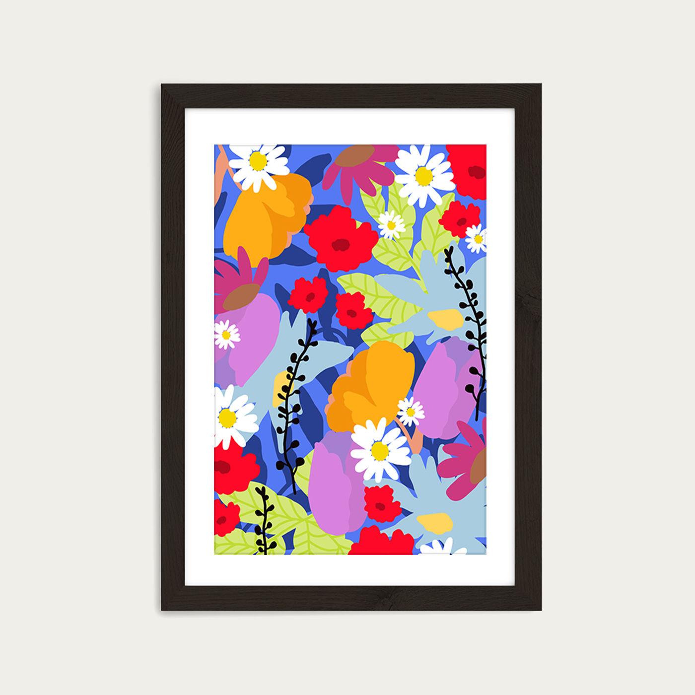 Garden At My Window Art Print Black Frame | Bombinate