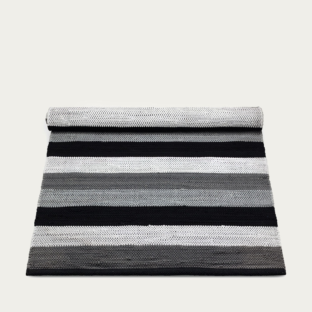Black, Grey and White stipes Cotton Rug | Bombinate
