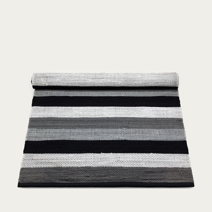 Black, Grey and White stipes Cotton Rug | Bombinate
