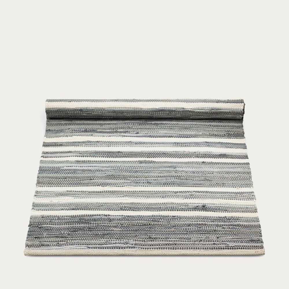 Grey and Offwhite Striped Cotton Rug | Bombinate