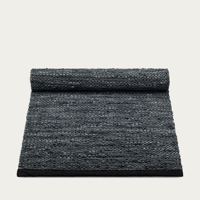 Dark Grey Leather Rug | Bombinate
