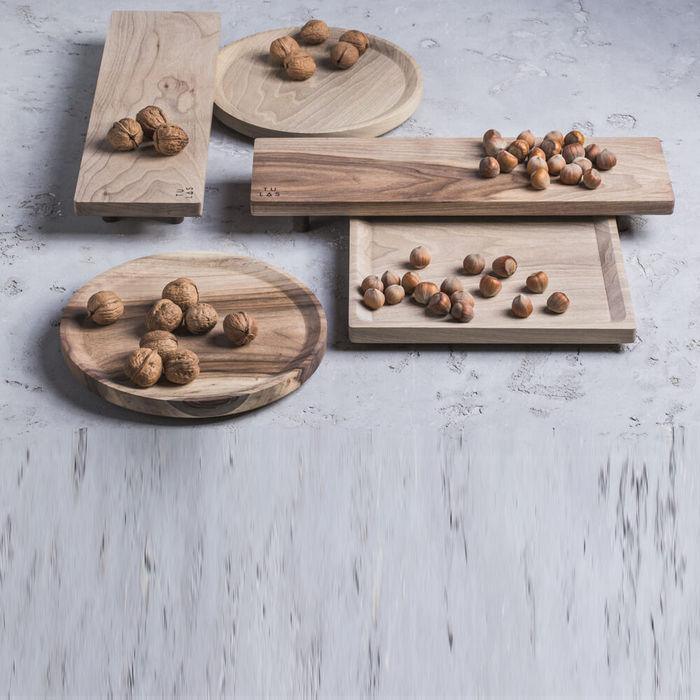 Cold Walnut + Limestone High Oste Serving Pieces Square   Bombinate