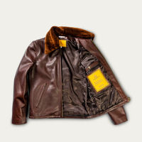 Varenne Fur Collar Brown Leather Jacket  | Bombinate