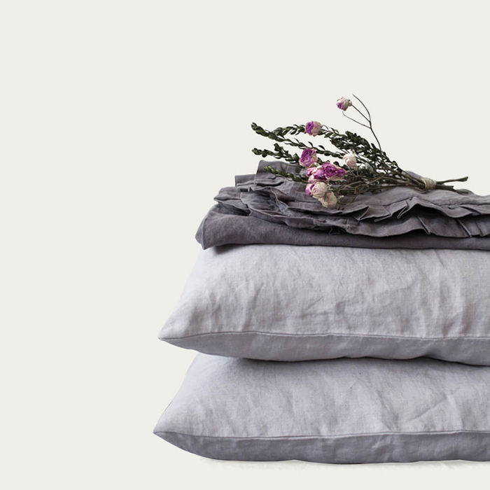 Light Grey Washed Linen Pillow Case | Bombinate