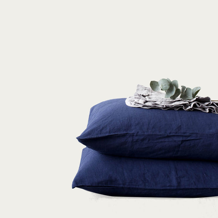 Navy Washed Linen Pillow Case   Bombinate